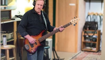Pat Kehs laying down some bass grooves.